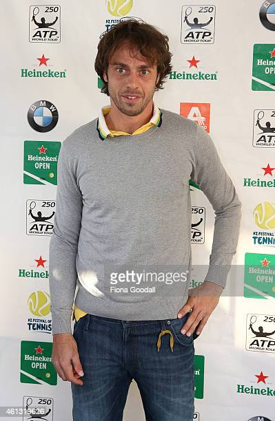Paolo Lorenzi of Italy arrives at the 2015 Heineken Open players party at The Crew Club on January 11 2015 in Auckland New Zealand