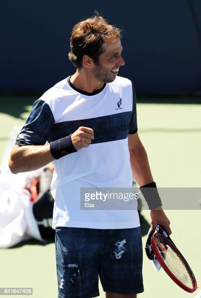 Paolo Lorenzi of Italy celebrates his third round victory over Thomas Fabbiano of Italy on Day Five of the 2017 US Open at the USTA Billie Jean King...