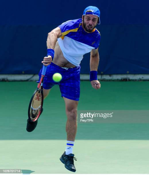Paolo Lorenzi of Italy in action against Kyle Edmund of Great Britain in the first round of the US Open at the USTA Billie Jean King National Tennis...