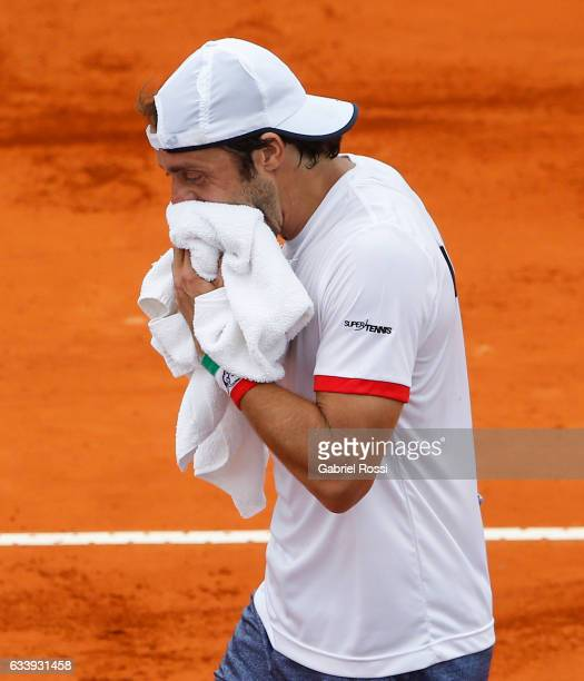 Paolo Lorenzi of Italy looks dejected during a singles match between Carlos Berlocq and Paolo Lorenzi as part of day 3 of the Davis Cup 1st round...