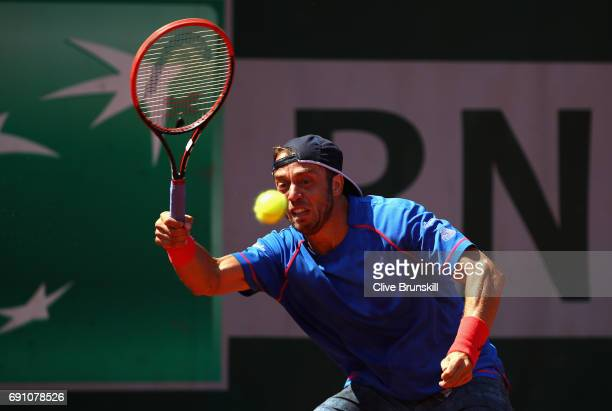 Paolo Lorenzi of Italy plays a forehand during the mens singles second round match against John Isner of The United States on day five of the 2017...