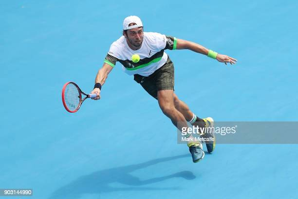Paolo Lorenzi of Italy plays a forehand in his second round match against Albert Ramos Vinolas of Spain during day four of the 2018 Sydney...