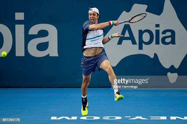 Paolo Lorenzi of Italy plays a forehand shot in his first round match against Florian Mayer of German during day two of the 2017 Sydney International...