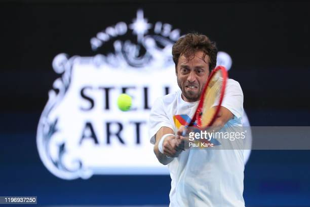 Paolo Lorenzi of Italy practices ahead of the 2020 ATP Cup Group Stage at RAC Arena on January 01, 2020 in Perth, Australia.