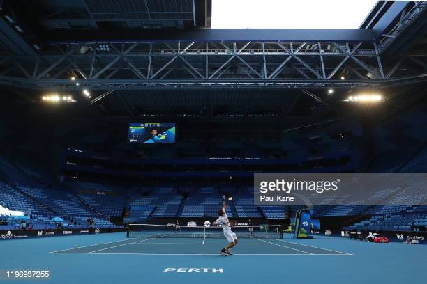 Paolo Lorenzi of Italy practices ahead of the 2020 ATP Cup Group Stage at RAC Arena on January 01 2020 in Perth Australia