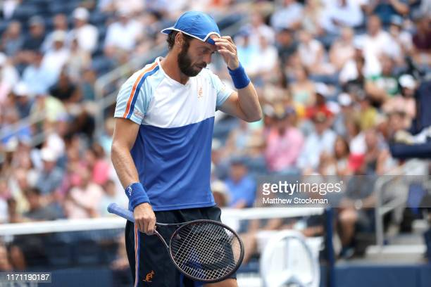 Paolo Lorenzi of Italy reacts during his Men's Singles third round match against Stan Wawrinka of Switzerland on day five of the 2019 US Open at the...