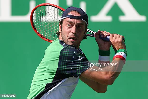 Paolo Lorenzi of Italy returns a shot during the match against Guillermo GarciaLopez of Spain on Day 3 of the ATP Shanghai Rolex Masters 2016 at Qi...
