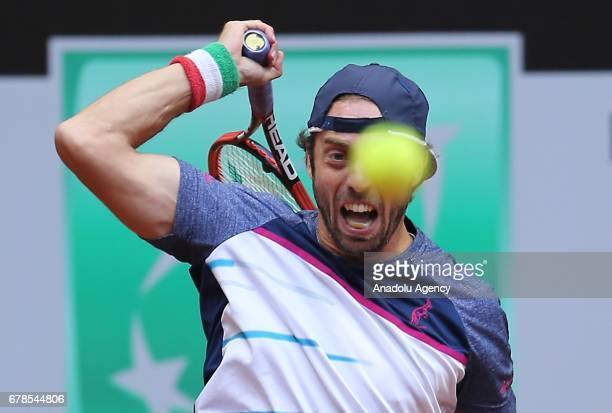 Paolo Lorenzi of Italy returns the ball to Laslo Djere of Serbia during the TEB BNP Paribas Istanbul Open tennis match at Garanti Koza Arena in...