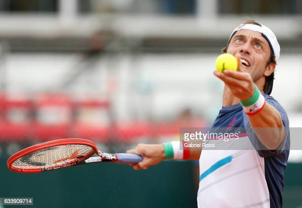 Paolo Lorenzi of Italy serves during a singles match between Carlos Berlocq and Paolo Lorenzi as part of day 3 of the Davis Cup 1st round match...