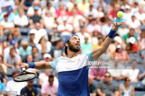 Paolo Lorenzi of Italy serves during his Men's Singles third round match against Stan Wawrinka of Switzerland on day five of the 2019 US Open at the...