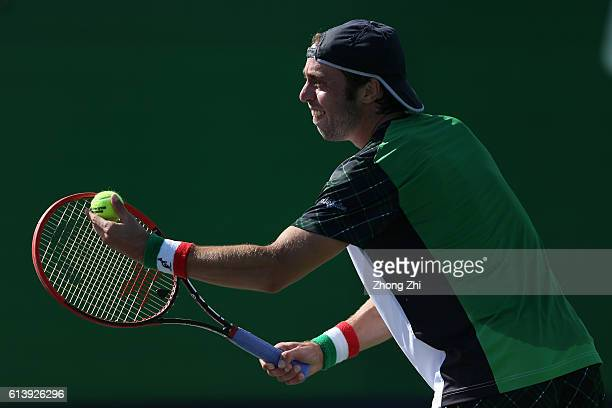 Paolo Lorenzi of Italy serves during the match against Guillermo GarciaLopez of Spain on Day 3 of the ATP Shanghai Rolex Masters 2016 at Qi Zhong...