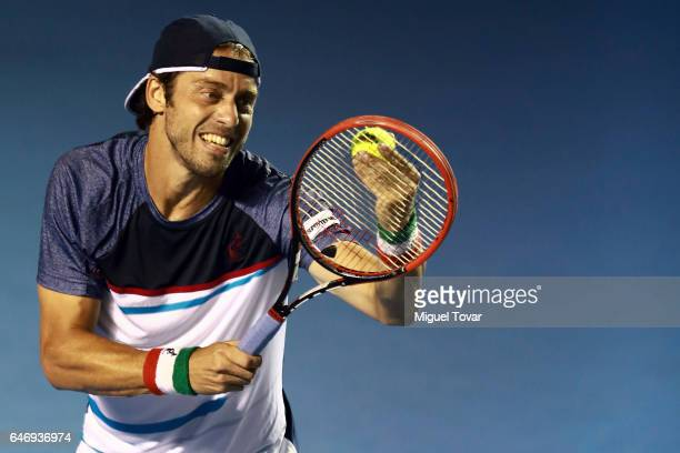 Paolo Lorenzi of Italy serves during the match between Paolo Lorenzi and Rafael Nadal as part of the Abierto Mexicano Telcel 2017 at the Fairmont...