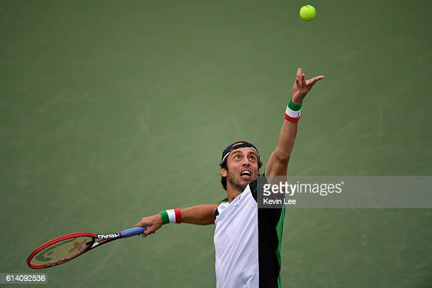 Paolo Lorenzi of Italy serves to Milos Raonic of Canada in the men's singles second round match during Day 4 of the ATP Shanghai Rolex Masters 2016...