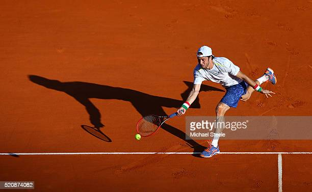 Paolo Lorenzi of Italy stretches for a forehand during his second round match against Gael Monfils of France on day four of the Monte Carlo Rolex...