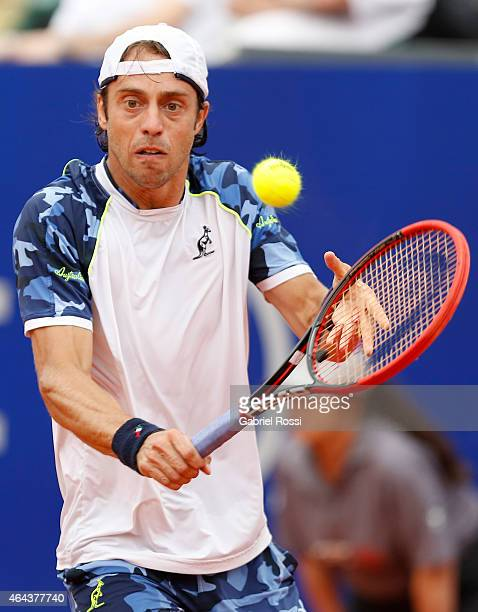 Paolo Lorenzi of Italy takes a backhand shot during a singles match between Paolo Lorenzi of Italy and Federico Delbonis of Argentina as part of ATP...