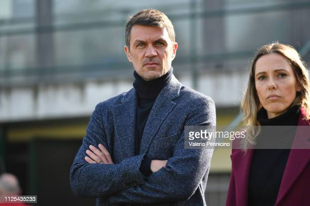 Paolo Maldini AC Milan looks on during the Women Serie A match between Juventus Women and AC Milan at Stadio Silvio Piola on February 17 2019 in...