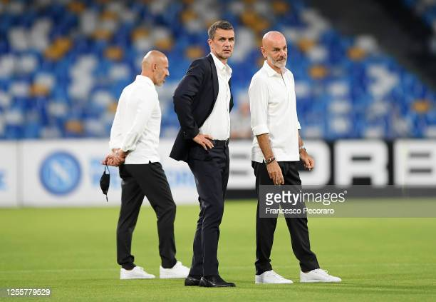 Paolo Maldini AC Milan Technical director and Stefano Pioli AC Milan look on coach before the Serie A match between SSC Napoli and AC Milan at Stadio...