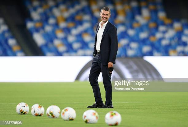 Paolo Maldini AC Milan Technical Director smiles before the Serie A match between SSC Napoli and AC Milan at Stadio San Paolo on July 12, 2020 in...