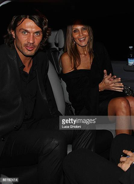Paolo Maldini and Adriana Fossa leave the Extreme Beauty In Vogue dinner at the Gold Restaurant during Milan Fashion Week Autumn/Winter 2009 on March...