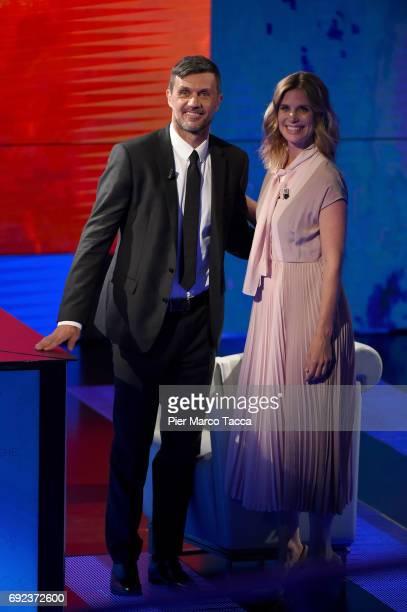 Paolo Maldini and Filippa Lagerback attend 'Che Tempo Che Fa' TV show on June 4 2017 in Milan Italy
