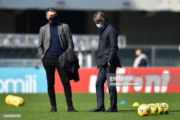 Paolo Maldini and Frederic Massara of AC MIlan during the Serie A match between Hellas Verona FC and AC Milan at Stadio Marcantonio Bentegodi on...