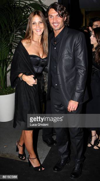 Paolo Maldini and his wife Adriana Fossa attend the Extreme Beauty In Vogue dinner at the Gold Restaurant during Milan Fashion Week Autumn/Winter...