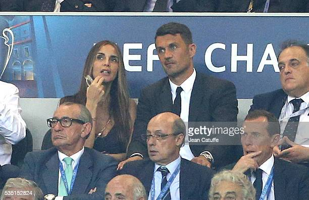 Paolo Maldini and his wife Adriana Fossa attend the UEFA Champions League final between Real Madrid and Club Atletico Madrid at Stadio Giuseppe...