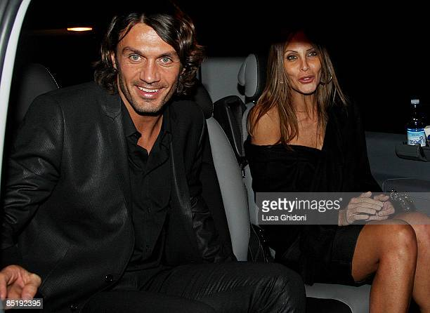 Paolo Maldini and his wife Adriana Fossa leave the Extreme Beauty In Vogue dinner at the Gold Restaurant during Milan Fashion Week Autumn/Winter 2009...
