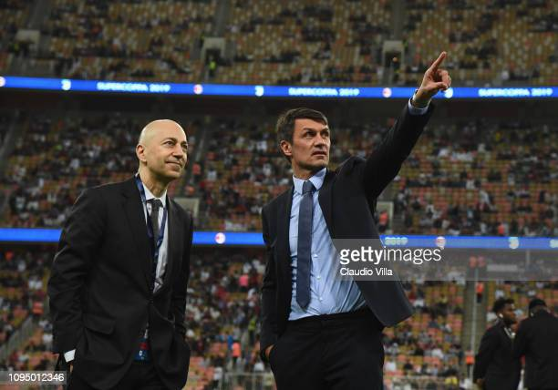 Paolo Maldini and Ivan Gazidis of AC Milan are seen ahead of the Italian Supercup match between Juventus and AC Milan at King Abdullah Sports City on...