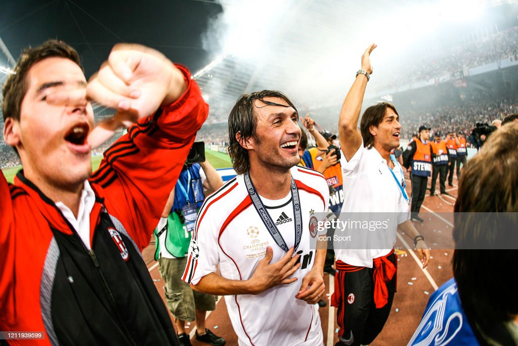 Paolo Maldini And Yoann Gourcuff Of Milan Ac Celebrate The Victory News Photo Getty Images