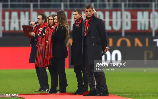 Paolo Maldini and Zvonimir Boban attend the Serie A match between AC Milan and US Sassuolo at Stadio Giuseppe Meazza on December 15, 2019 in Milan,...