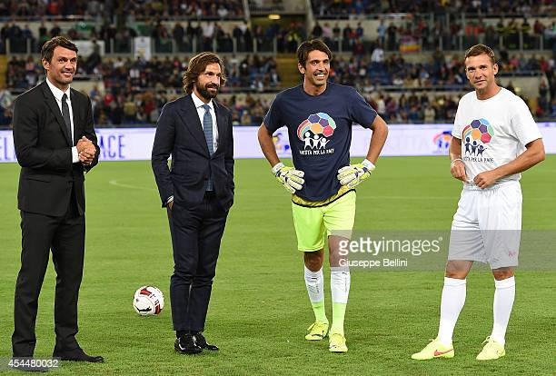 Paolo Maldini Andrea Pirlo Gianluigi Buffon and Andrey Shevchenko before Interreligious Match for Peace at Olimpico Stadium on September 1 2014 in...