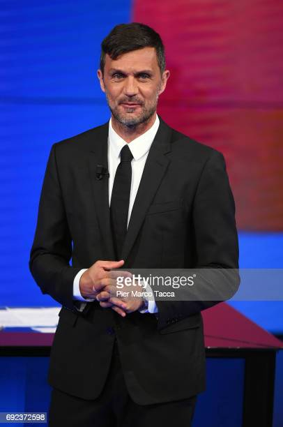 Paolo Maldini attends 'Che Tempo Che Fa' TV show on June 4 2017 in Milan Italy