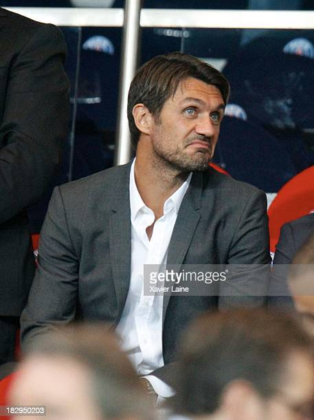 Paolo Maldini attends the UEFA Champions League between Paris SaintGermain FC and SL Benfica at Parc Des Princes on October 02 2013 in Paris France