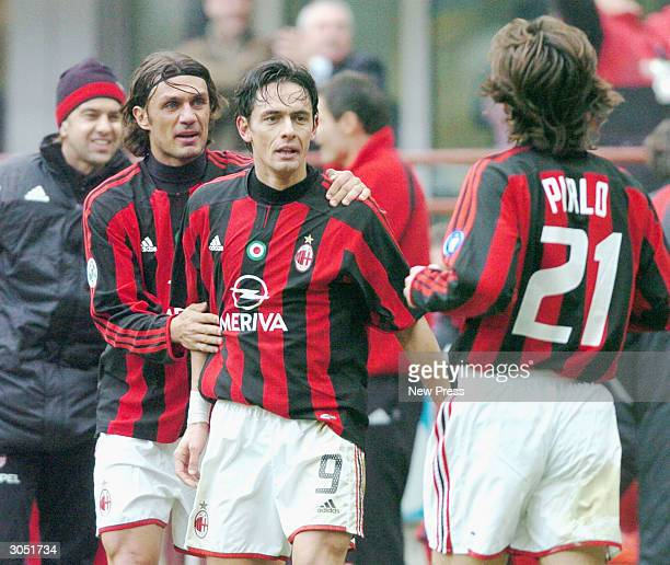 Paolo Maldini Filippo Inzaghi and Andrea Pirlo celebrate a goal during the Serie A match between AC Milan and Sampdoria on March 7 in Milan Italy