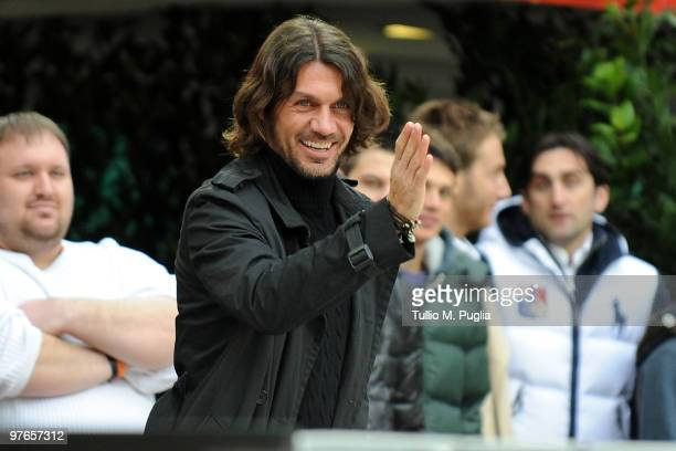 Paolo Maldini former captain of Milan gestures in vipstanding during the Serie A match between Milan and Atalanta at Stadio Giuseppe Meazza on...