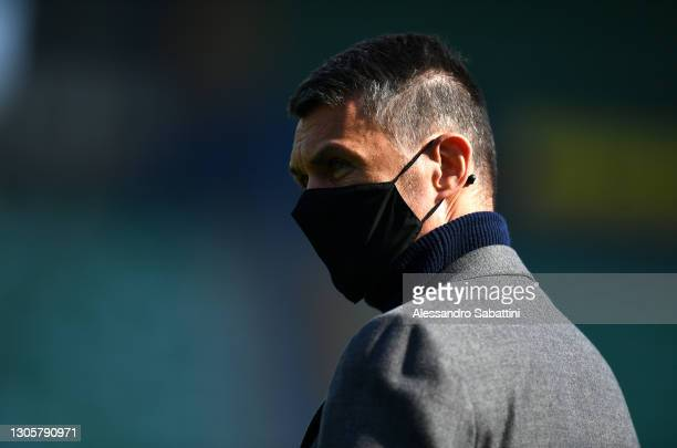 Paolo Maldini, former footballer of AC Milan is seen wearing a face mask prior to the Serie A match between Hellas Verona FC and AC Milan at Stadio...