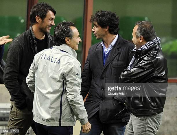 Paolo Maldini Head coach Cesare Prandelli of Italy Demetrio Albertini and Antonio Cabrini attend a training session ahead of their FIFA World Cup...