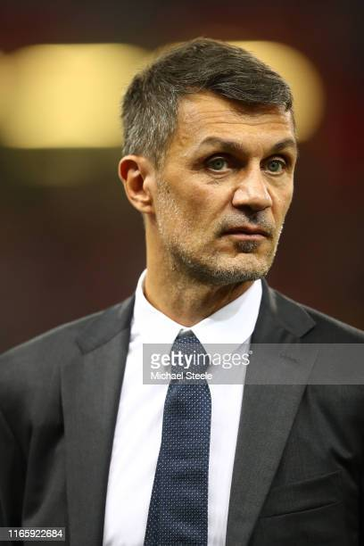 Paolo Maldini legend of AC Milan during the 2019 International Champions Cup match between Manchester United and AC Milan at Principality Stadium on...