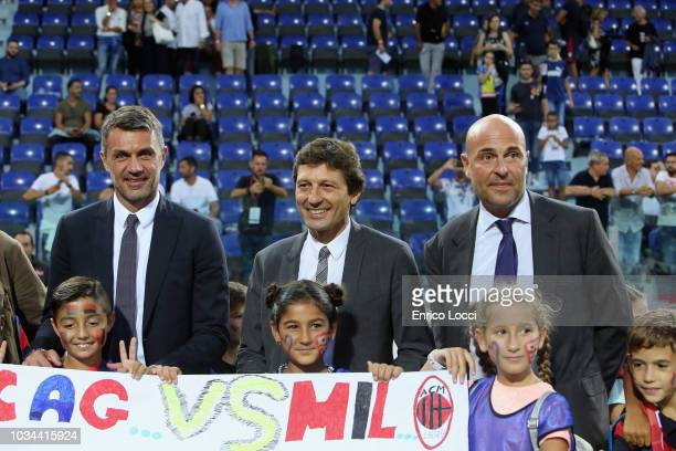 Paolo Maldini Leonardo and the president of Cagliari Tommaso Giulini during the serie A match between Cagliari and AC Milan at Sardegna Arena on...