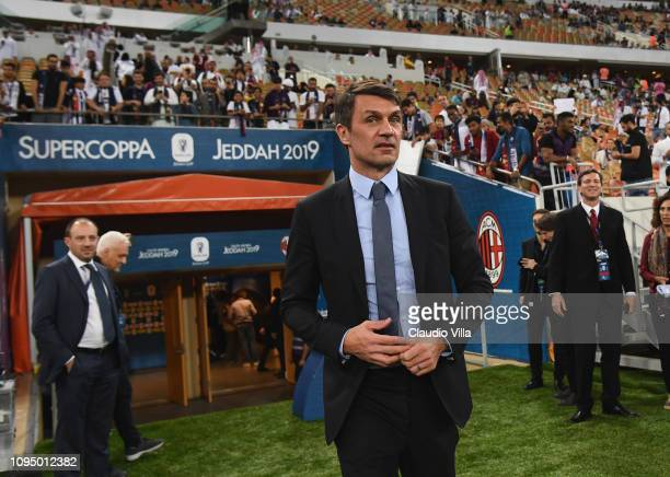 Paolo Maldini looks on ahead of the Italian Supercup match between Juventus and AC Milan at King Abdullah Sports City on January 16, 2019 in Jeddah,...
