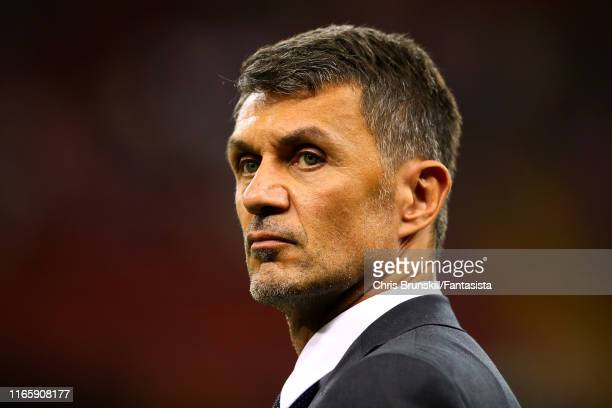 Paolo Maldini looks on during the 2019 International Champions Cup match between Manchester United and AC Milan at Principality Stadium on August 03,...