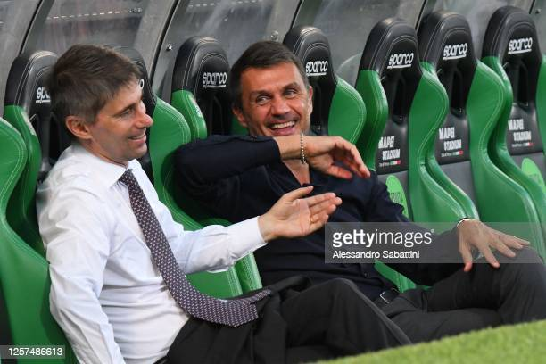 Paolo Maldini of AC Milan during the Serie A match between US Sassuolo and AC Milan at Mapei Stadium - Città del Tricolore on July 21, 2020 in Reggio...
