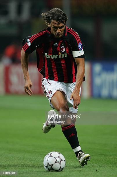 Paolo Maldini of AC Milan during the UEFA Champions League Group H match between AC Milan and AEK Athens at the Giuseppe Meazza Stadium on September...