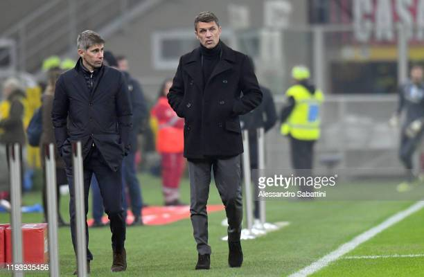 Paolo Maldini of AC Milan looks on before the Coppa Italia match between AC Milan and SPAL at Stadio Giuseppe Meazza on January 15 2020 in Milan Italy