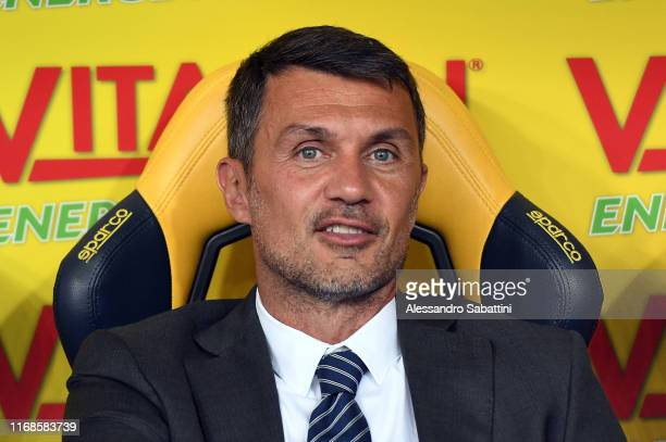 Paolo Maldini of AC Milan looks on during the Serie A match between Hellas Verona and AC Milan at Stadio Marcantonio Bentegodi on September 15 2019...