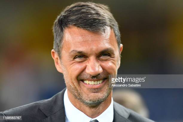 Paolo Maldini of AC Milan looks on during the Serie A match between Hellas Verona and AC Milan at Stadio Marcantonio Bentegodi on September 15, 2019...
