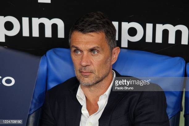 Paolo Maldini of AC Milan looks on during the Serie A match between SS Lazio and AC Milan at Stadio Olimpico on July 4, 2020 in Rome, Italy.