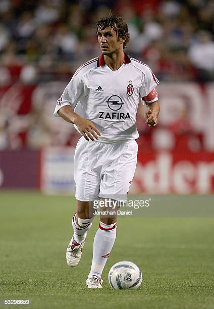 Paolo Maldini of AC Milan looks to set up a play during a friendly match against the Chicago Fire on July 27 2005 at Soldier Field in Chicago...