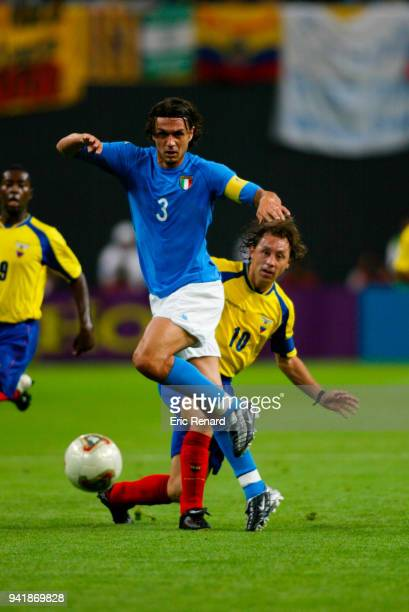 Paolo Maldini of Italy and Alex Aguinaga of Ecuador during the World Cup match between Italy and Ecuador on 3rd June 2002 at Sapporo Dome Sapporo...